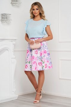StarShinerS skirt midi cloche with pockets with floral print