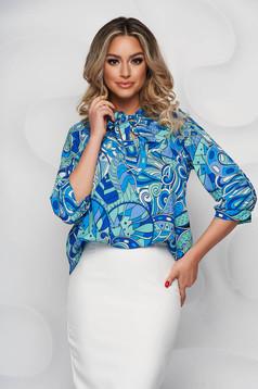 Bluza dama StarShinerS cu imprimeu din material subtire cu guler tip esarfa si croi larg