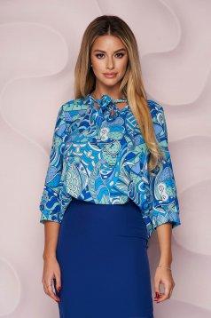 Bluza dama StarShinerS cu croi larg din material subtire cu guler tip esarfa si imprimeu grafic unic