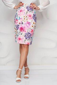 StarShinerS skirt pencil office midi high waisted thin fabric