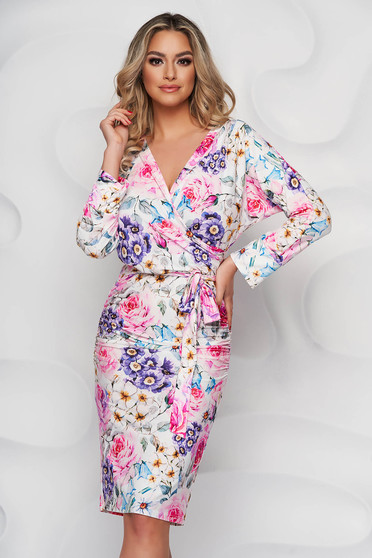 StarShinerS dress with floral print midi pencil from elastic fabric with v-neckline