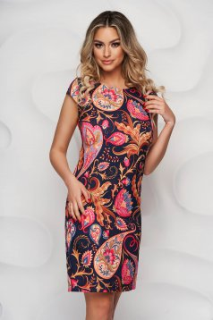 Rochie StarShinerS cu imprimeu floral office din material usor elastic
