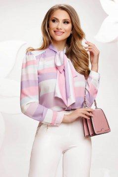 Bluza dama Fofy lila office din voal usor transparent cu croi larg cu imprimeuri grafice