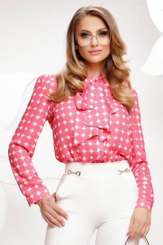 Pink women`s blouse dots print from veil fabric loose fit tied with bow