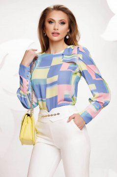 Blue women`s blouse with graphic details tented wristbands with gold buttons