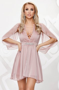 Lightpink dress from veil fabric occasional cloche transparent chiffon fabric with embellished accessories