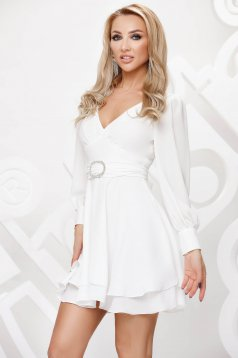 White dress from veil fabric with embellished accessories elegant cloche