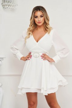White dress from veil fabric cloche short cut occasional with puffed sleeves