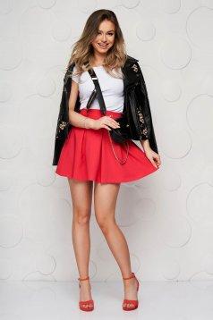 Pink casual cloche skirt slightly elastic fabric medium waist