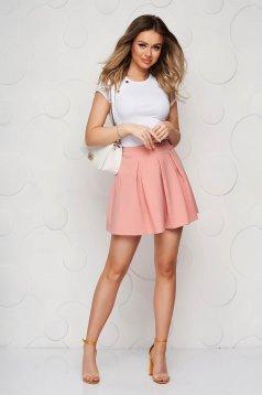 Lightpink casual cloche skirt slightly elastic fabric medium waist