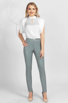 Grey conical office trousers high waisted