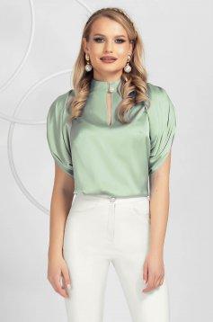 Bluza dama PrettyGirl verde-deschis din material usor elastic cu croi larg