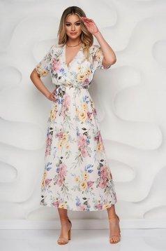 Rochie SunShine alba cu imprimeu floral clos din material vaporos cu cordon detasabil si decolteu petrecut