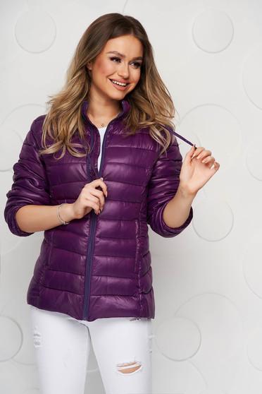 Purple jacket from slicker zipper fastening