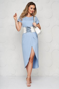 Lightblue dress midi slit cloche with rounded cleavage