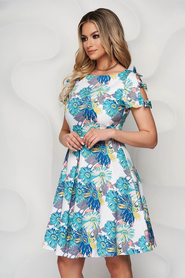 Aqua dress slightly elastic fabric cloche with floral print with bow accessories