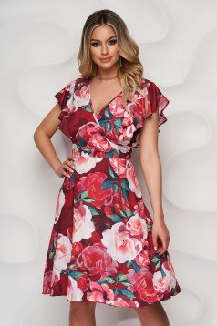 Burgundy dress with floral print cloche wrap over front with ruffle details