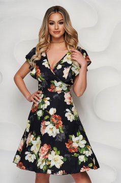 Black dress with floral print cloche wrap over front with ruffle details