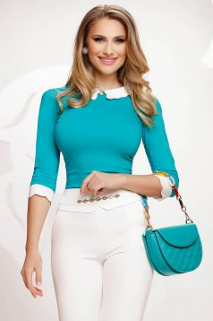 Cotton elegant tented accessorized with breastpin turquoise women`s shirt