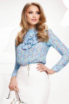 Bluza dama Fofy albastra din voal cu imprimeuri grafice si volanase