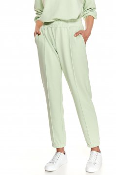 Pantaloni Top Secret verzi casual cu croi larg si elastic in talie