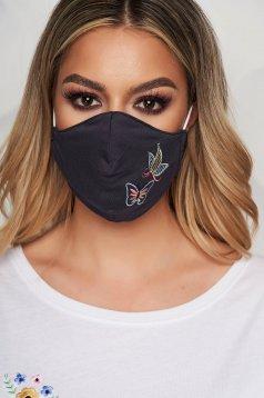 Masca textila pentru femei gri StarShinerS cu broderie digitala si gaici laterale