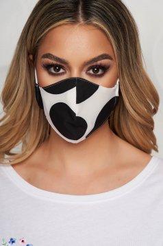 Masca textila pentru femei StarShinerS alba cu buline