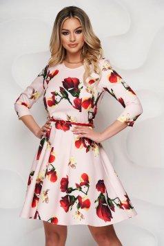 Rochie StarShinerS scurta in clos cu imprimeu floral si accesoriu tip curea