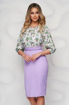 StarShinerS lila dress elegant midi cloth back slit pencil