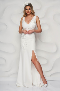 StarShinerS ivory occasional dress slightly elastic fabric with inside lining with floral details with 3d effect