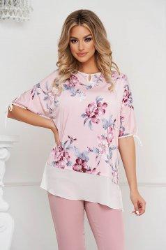 Bluza dama Lady Pandora din material elastic si fin cu insertii de voal si croi larg