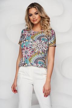 Bluza dama Lady Pandora cu imprimeu floral mulata din material elastic si fin