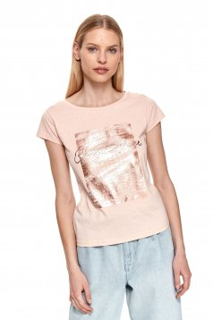 Lightpink t-shirt with graphic details cotton