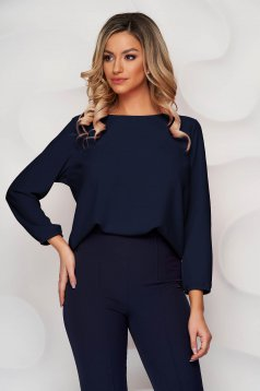 StarShinerS darkblue women`s blouse loose fit with rounded cleavage from elastic fabric