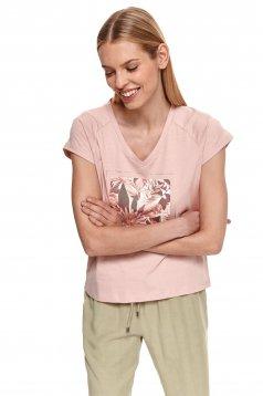 Tricou Top Secret roz deschis din bumbac cu imprimeuri grafice