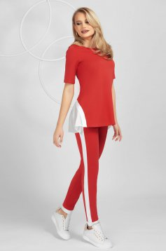 Red sport 2 pieces voile details from elastic fabric tented short sleeve