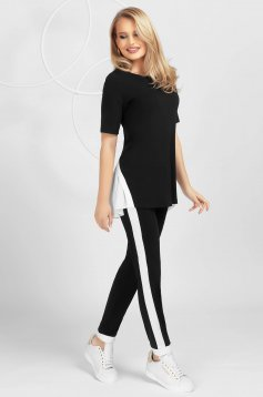 Black sport 2 pieces voile details from elastic fabric tented short sleeve