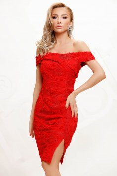 Red dress from laced fabric occasional pencil short cut naked shoulders