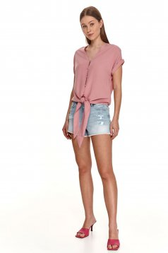 Pink women`s shirt loose fit with v-neckline