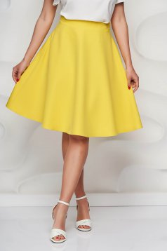 StarShinerS yellow skirt high waisted cloche midi with pockets