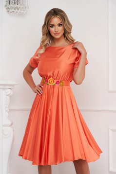 StarShinerS orange dress asymmetrical occasional from satin fabric texture