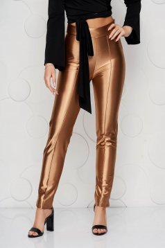 StarShinerS gold trousers slightly elastic fabric elegant conical