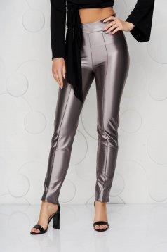 Pantaloni StarShinerS argintii eleganti din material usor elastic si croi conic