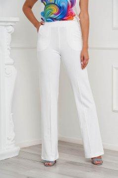 Pantaloni StarShinerS ivoire casual cu croi larg si buzunare