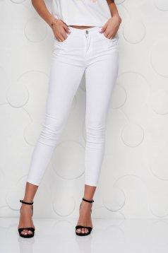Blugi SunShine albi skinny cu buzunare si talie normala