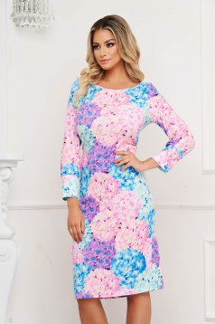 StarShinerS dress with floral print midi straight long sleeved