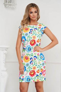 StarShinerS dress short cut straight elegant nonelastic fabric with floral print