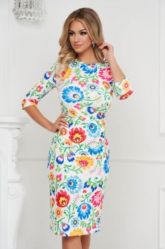 StarShinerS dress pencil midi elegant from elastic fabric with floral print