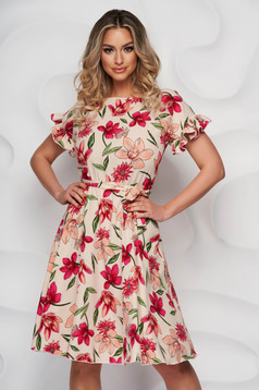 StarShinerS dress with floral print elegant midi cloche with elastic waist