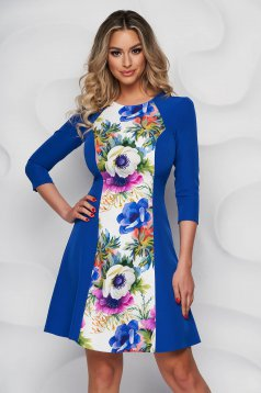 StarShinerS dress with floral print with 3/4 sleeves elegant cloche thin fabric